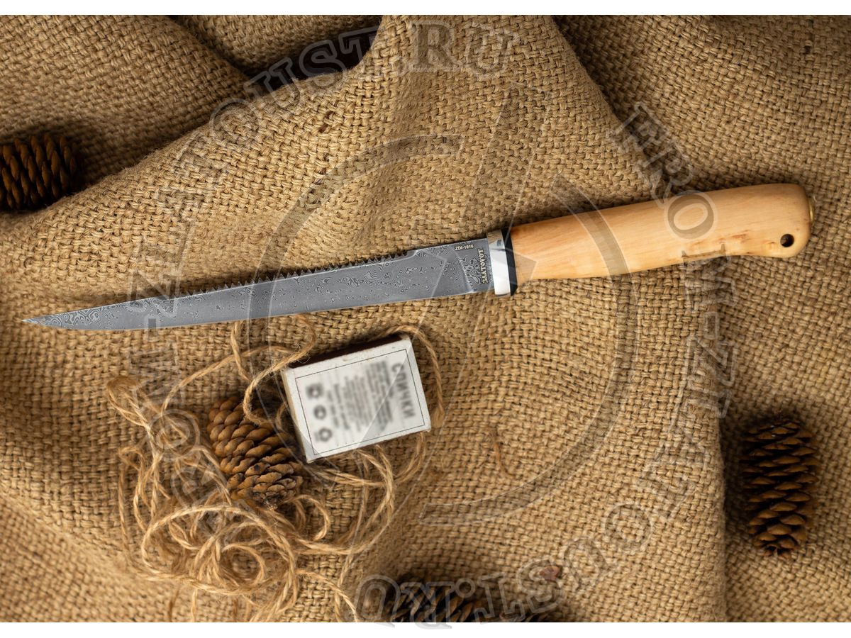 Белуга. Рукоять карельская береза стабилизированная натуральная. Алюминий. Белый дамаск. С пилой