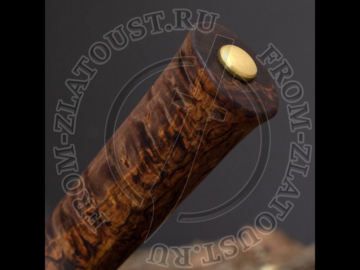 Бурятский средний. Рукоять карельская береза стабилизированная коричневая. Прямые спуски. Сталь 95Х18