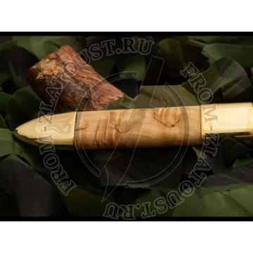 Ножны комбинированные к ножу Финка-2. Латунь, карельская береза