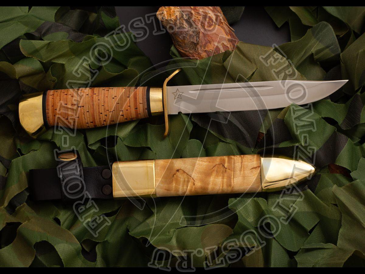 Ножны комбинированные к ножу Штрафбат. Латунь, карельская береза