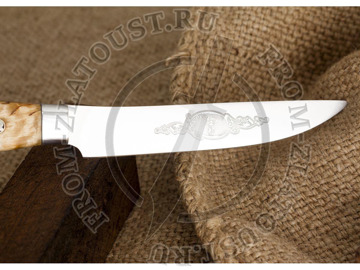 Овощной. Цельнометаллический. Рукоять карельская береза. Сталь 95Х18