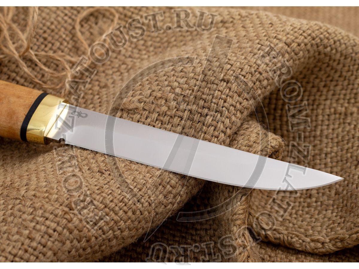 Финка-5. Рукоять карельская береза стабилизированная. Латунь. Сталь 95Х18