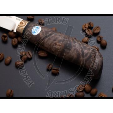 Финка lappi. Рукоять стабилизир. карельская береза коричневая. Мокумэ. Сталь 95Х18