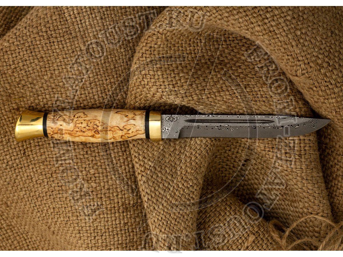 Финка-3. Рукоять карельская береза. Латунь. Дамаск