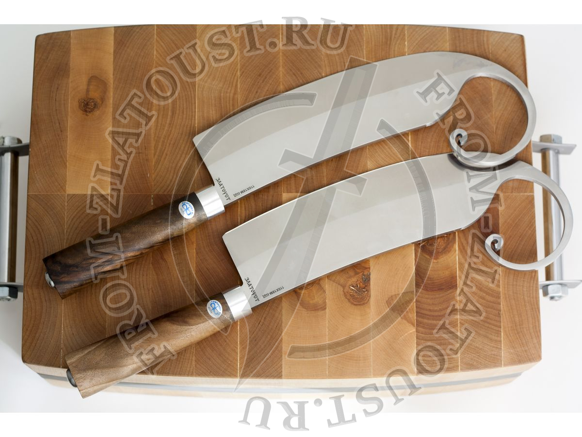 Гиймякеш набор. (габалинский нож). Рукоять кап ореха. Сталь 65Г