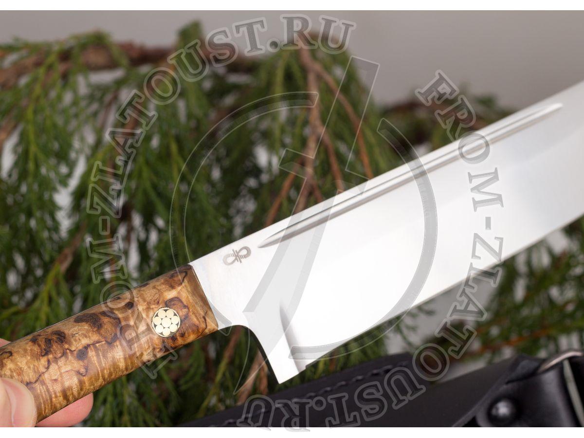 Пчак-Н. Рукоять карельская береза. Цельнометаллический. Сталь 95х18