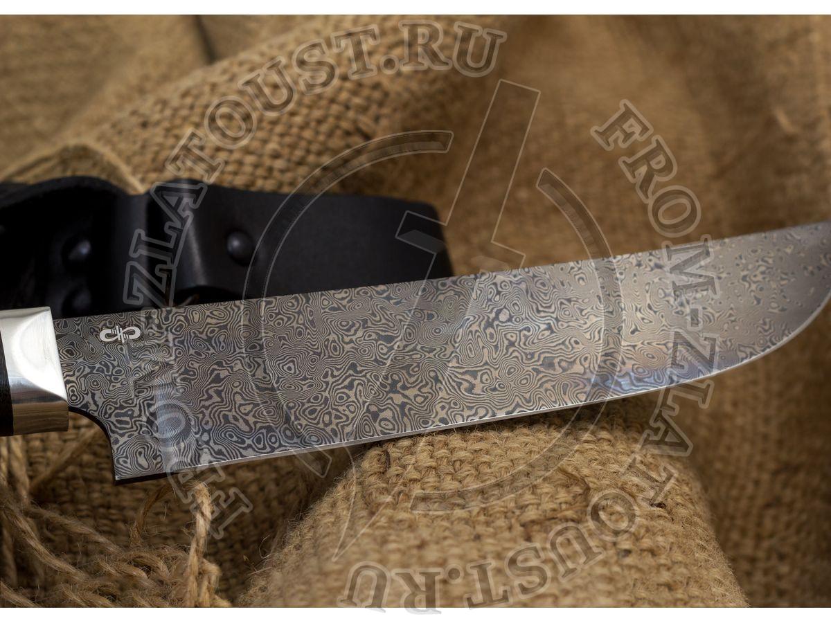 Пчак. Рукоять орех. Алюминий. Дамаск