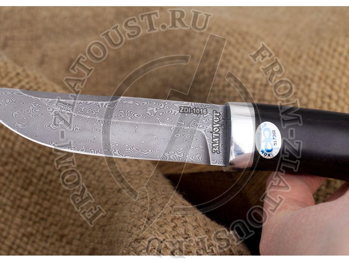 Робинзон-2. Рукоять эбен. Алюминий. Белый дамаск ZDI-1016