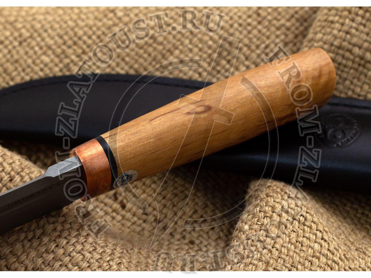 Селигер. Рукоять карельская береза стабилизированная (цвет натуральный). Медь. Пескоструйная обработка (со стандарт. гравировкой) Сталь 95Х18
