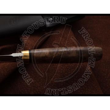 Селигер. Рукоять карельская береза стабилизированная (коричневая). Мокумэ. Сталь 95Х18