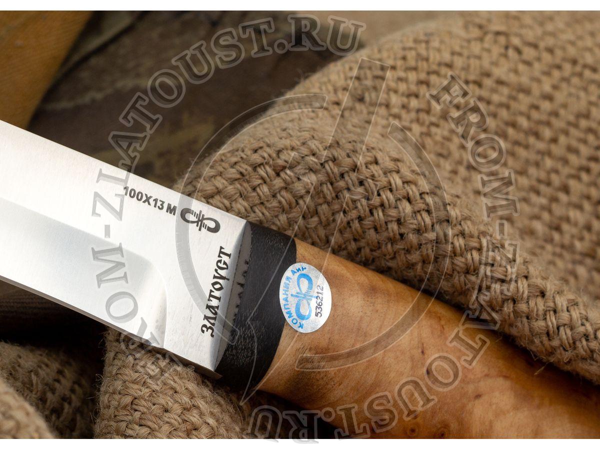 Шаман-1. Рукоять березовый кап. Сталь 100Х13М