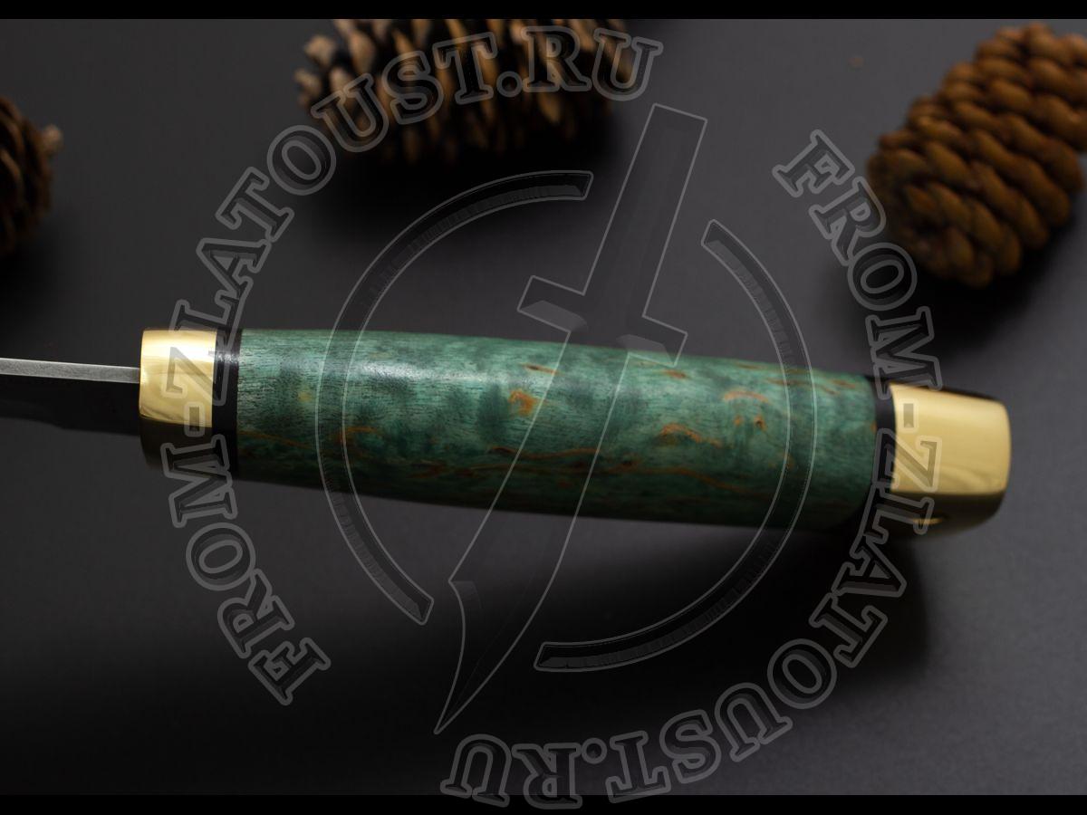 Бекас. Рукоять карельская береза стабилизированная зеленая. Латунь. Белый дамаск (узор ступени) (с тыльником)