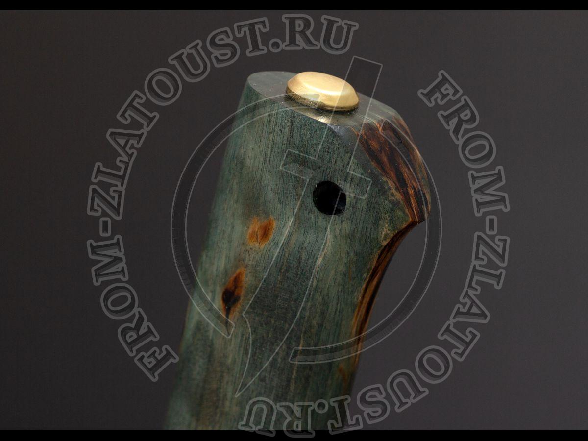 Бекас. Рукоять карельская береза стабилизированная (зеленая, синяя, травяная). Латунь. Сталь 95Х18