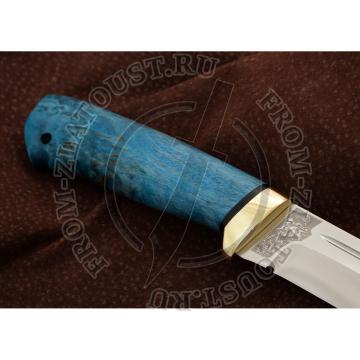 Бекас. Рукоять карельская береза стабилизированная лазурная. Латунь. Сталь 95Х18