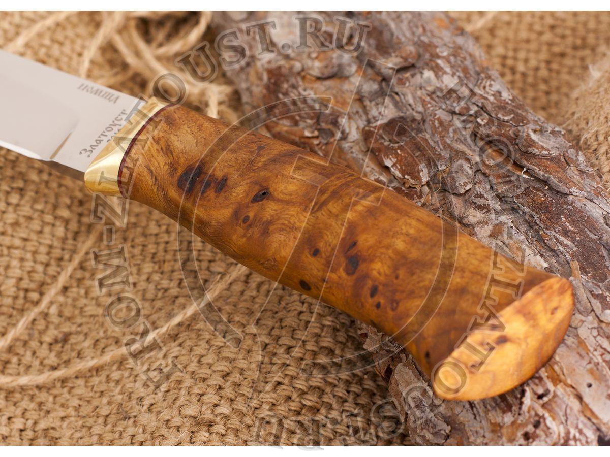 Нож кованый №4. Рукоять кап каштана, латунь. Сталь 110х18м-шд