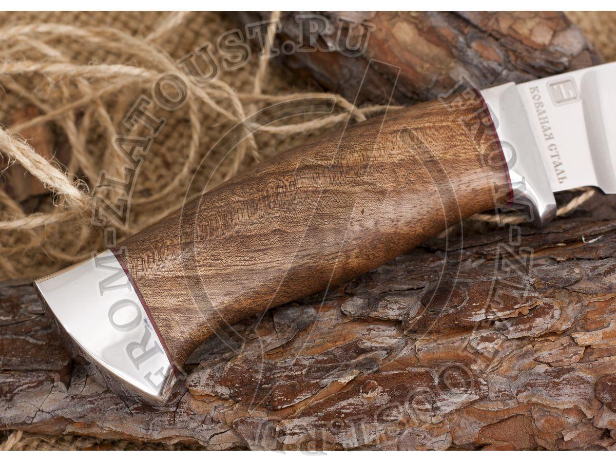 Нож кованый №1. Рукоять орех, алюминий. Сталь 110х18м-шд