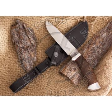Нож кованый №2. Со следами ковки. Рукоять орех, алюминий. Сталь 110х18м-шд
