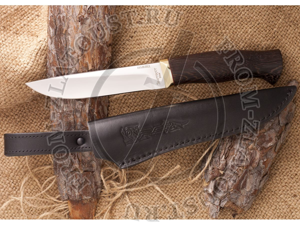 Нож кованый №3. Рукоять венге, латунь. Сталь 110х18м-шд