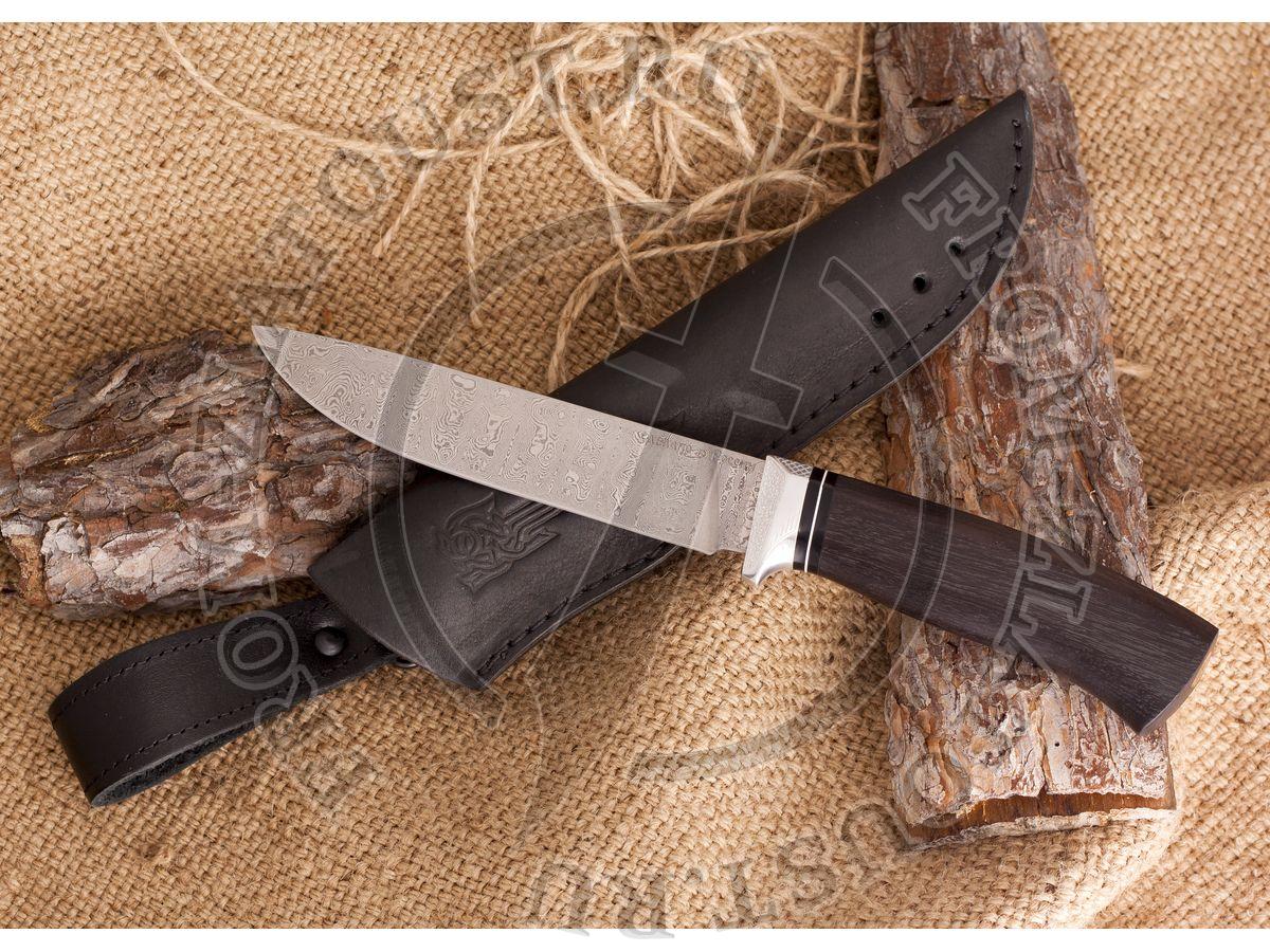 Нож из белого дамаска Лапшина №4. Рукоять граб, алюминий