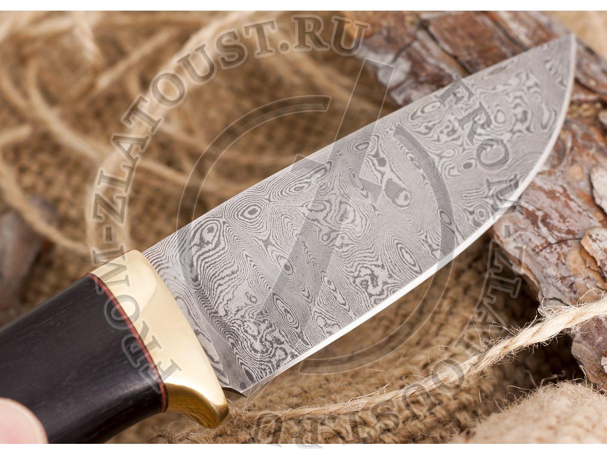 Нож из белого дамаска Лапшина №1. Рукоять граб. Латунь