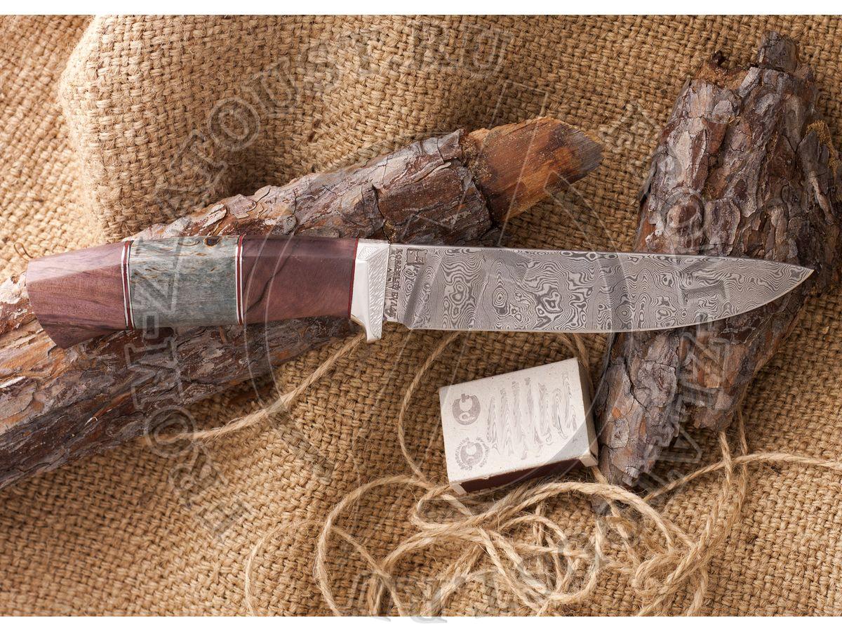 Нож из белого дамаска Лапшина №3. Рукоять стабилизированная карельская береза, алюминий