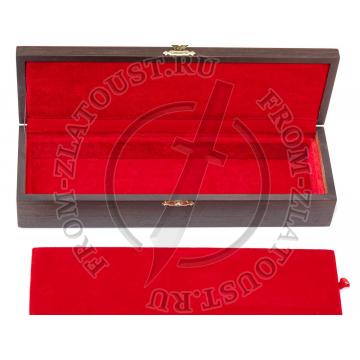 Коробка. Подарочная для ножа. Шпон венге, красный бархат, 2 отделения