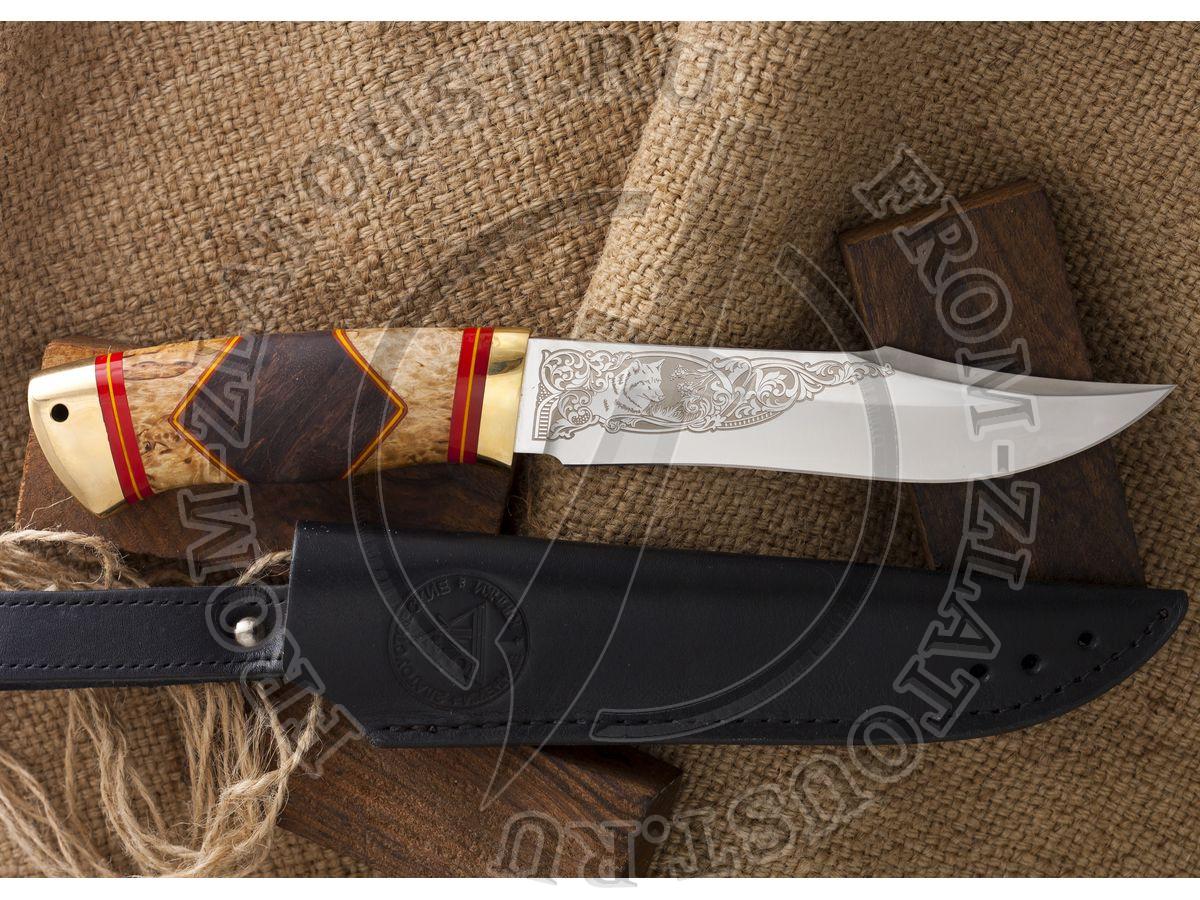 Акела. Рукоять комбинированная люкс: карельская береза, орех, фибра. Латунь. Сталь 95х18