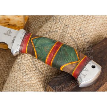 Гюрза. Рукоять комбинированная люкс: карельская береза, орех, фибра. Алюминий. Сталь 95х18