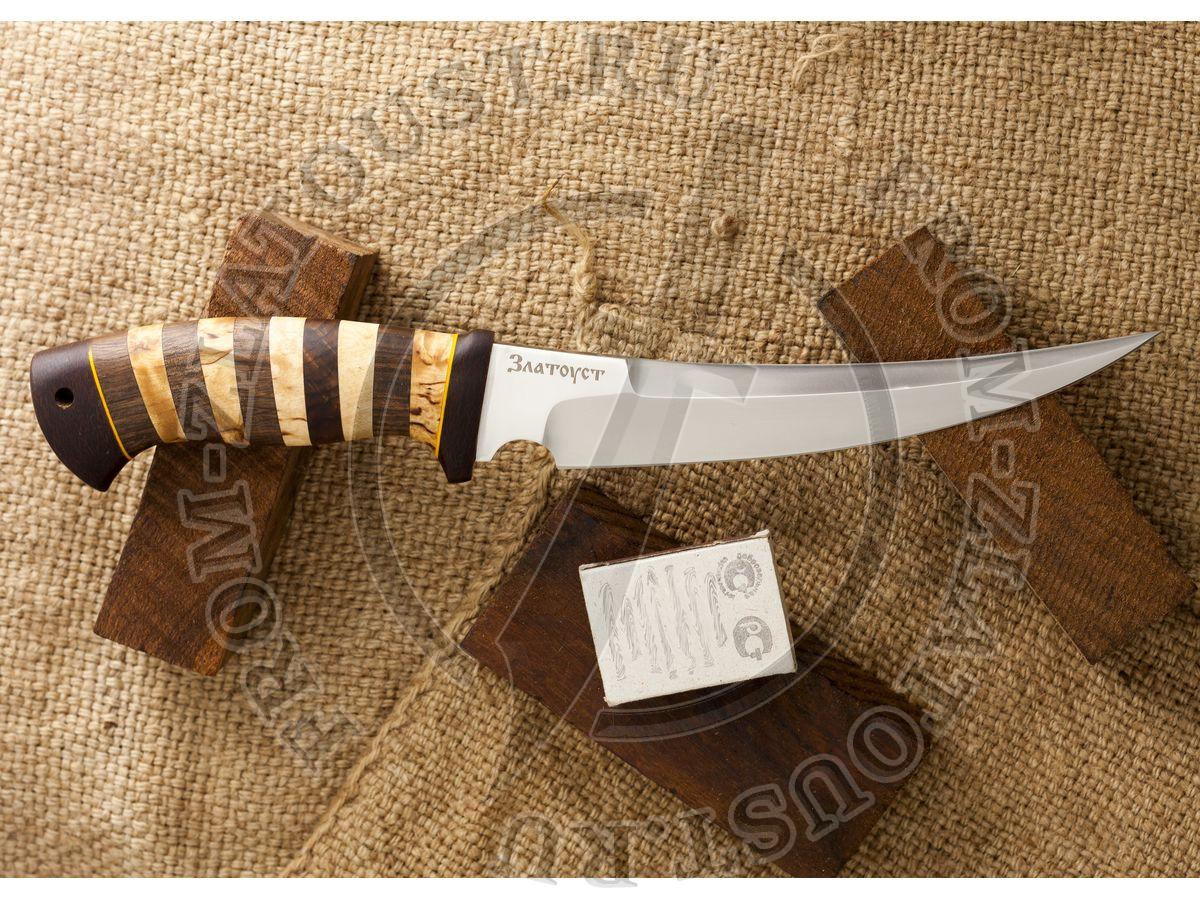 Гюрза. Рукоять комбинированная: карельская береза, орех, фибра. Текстолит. Сталь 95х18
