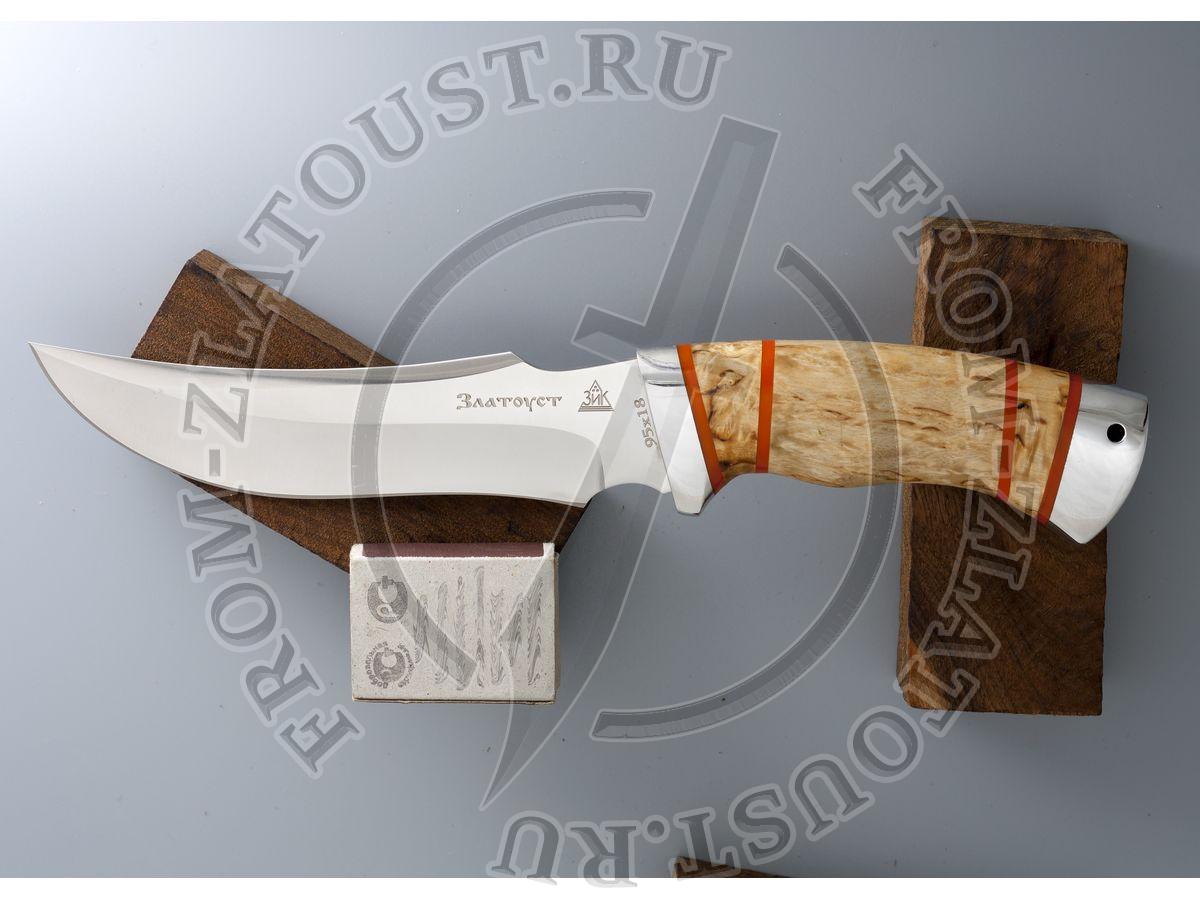 Крюк. Рукоять комбинированная люкс: карельская береза, оргстекло. Алюминий. Сталь 95х18