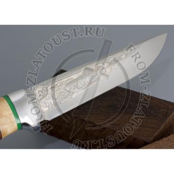 Пустельга. Рукоять комбинированная: карельская береза, орех. Алюминий. Сталь 95х18