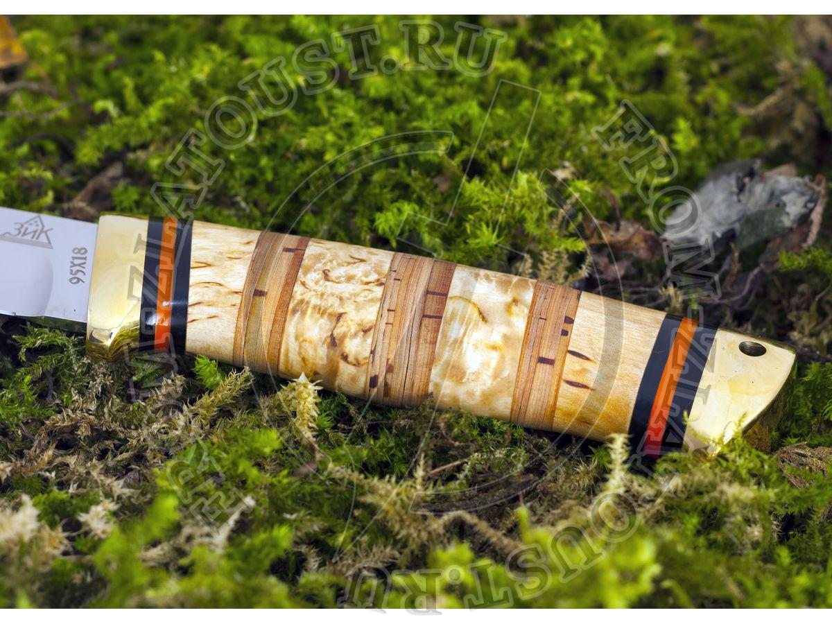 Куница. Рукоять комбинированная: карельская береза, береста. Латунь. Сталь 95х18