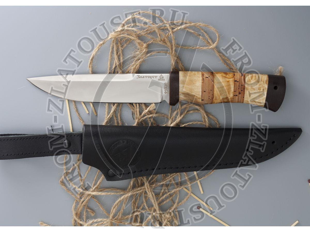Перо. Рукоять комбинированная: карельская береза, береста. Сталь 95х18
