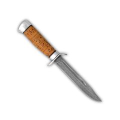 Нож разведчика. Рукоять береста. Алюминий. Белый дамаск (с больстером)
