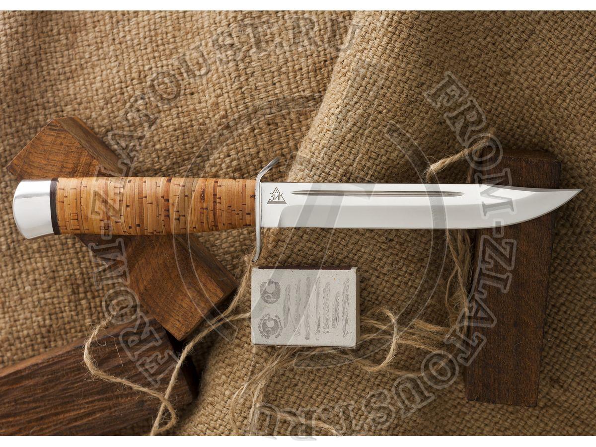 Нож разведчика. Рукоять береста. Алюминий. Сталь 95х18