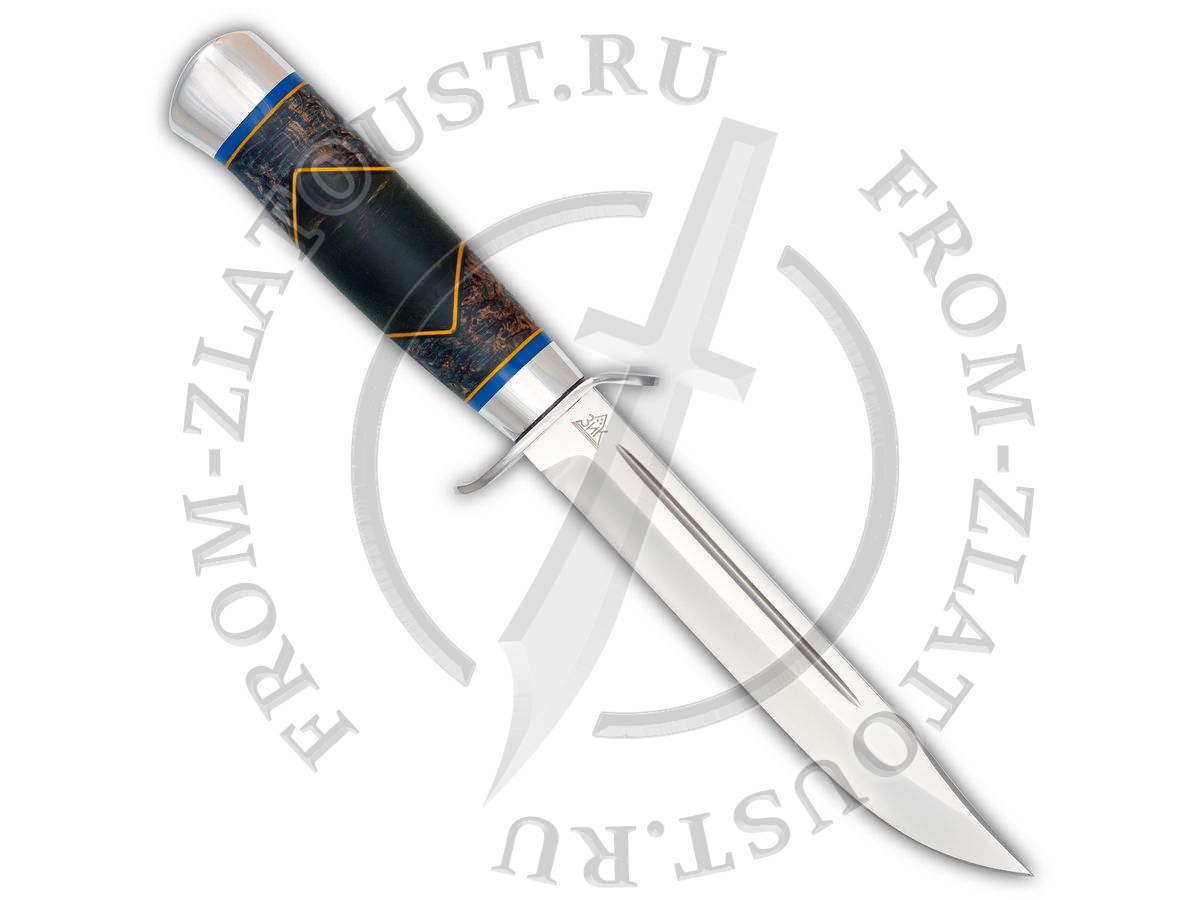 Нож разведчика. Рукоять комбинированная люкс: стабилизированная карельская береза, фибра. Алюминий. Сталь 95х18