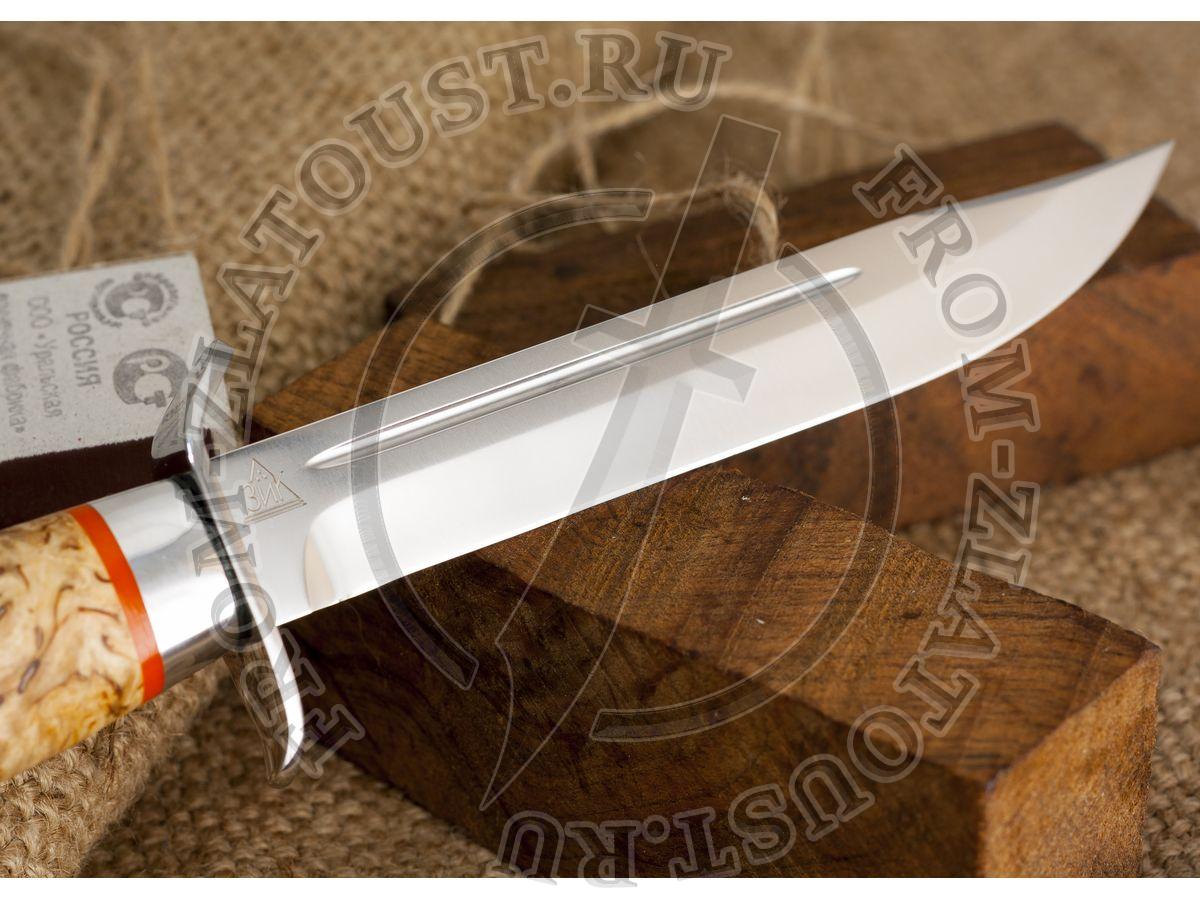 Нож разведчика. Рукоять карельская береза. Алюминий. Сталь 95х18
