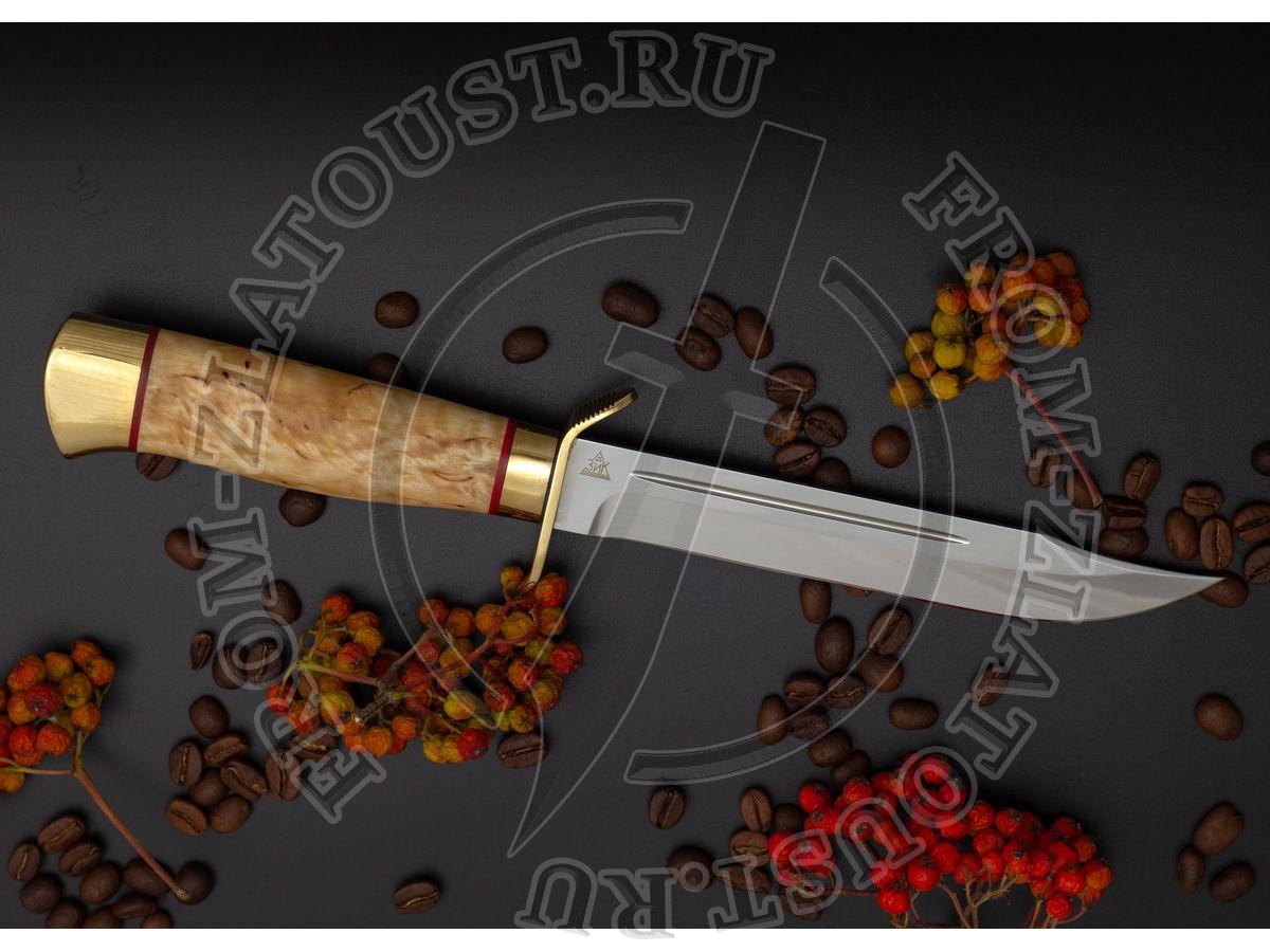 Нож разведчика. Рукоять карельская береза. Латунь. Сталь 95х18