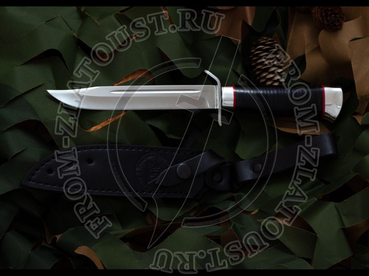 Нож разведчика. Рукоять кожа. Алюминий. Сталь 95х18