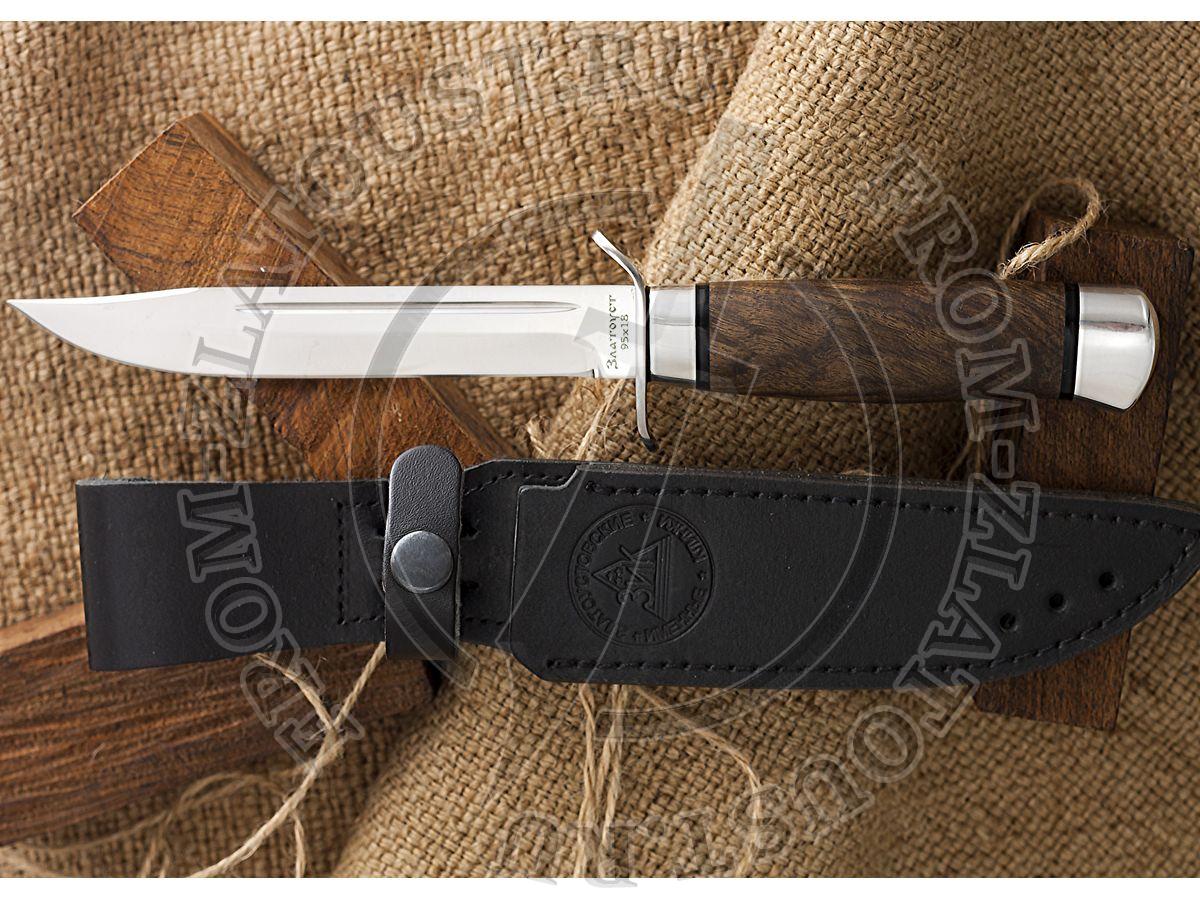 Нож разведчика. Рукоять орех. Алюминий. Сталь 95х18