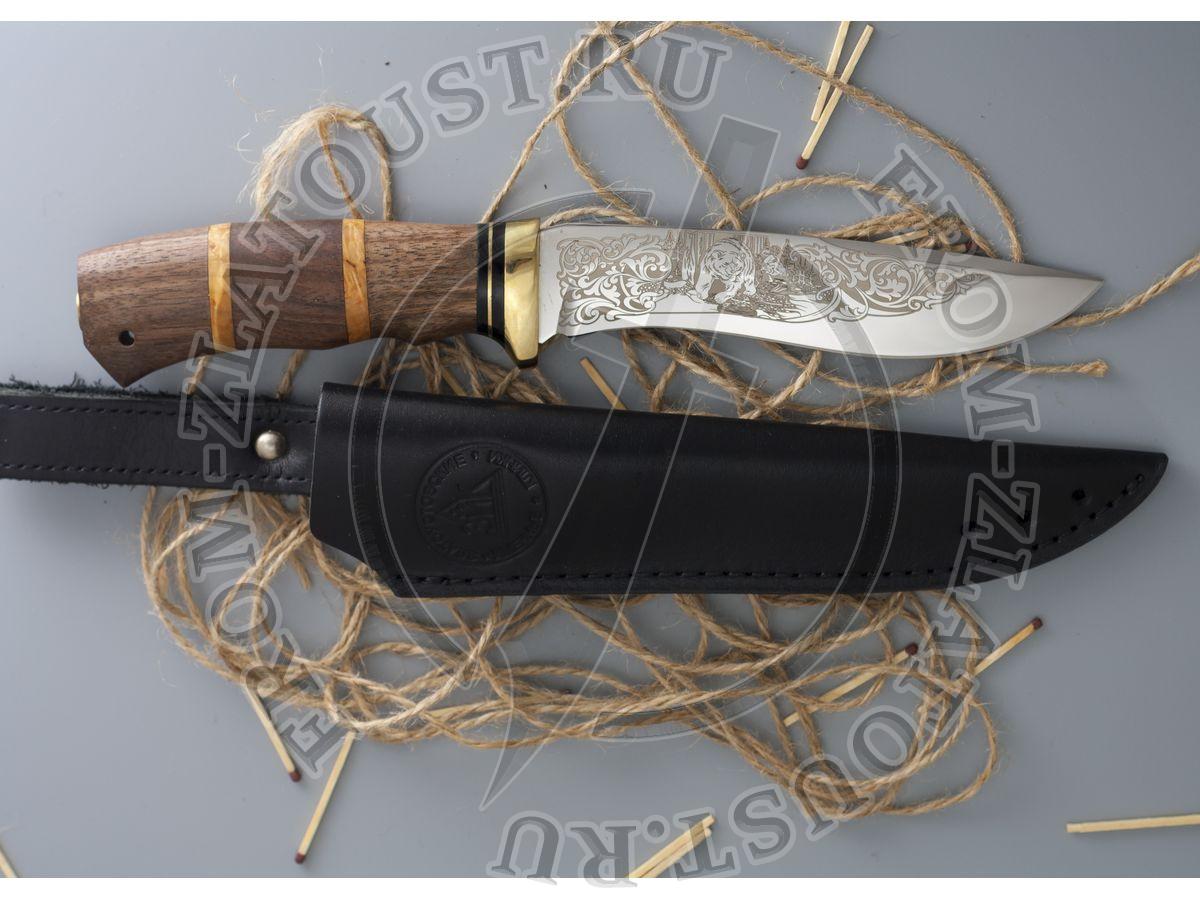 Морской волк. Рукоять комбинированная: орех, карельская береза. Латунь. Сталь 95х18
