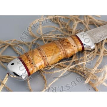 Морской волк. Рукоять комбинированная: карельская береза, береста. Алюминий. Сталь 95х18
