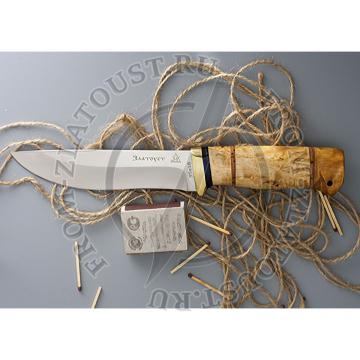 Таежный-2. Рукоять комбинированная: карельская береза, береста. Латунь. Сталь 95х18