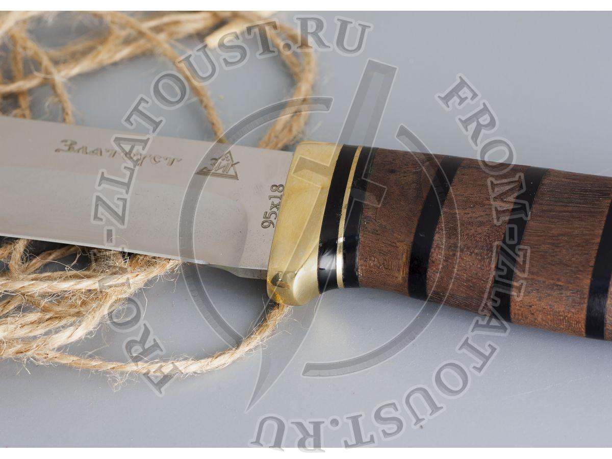 Таежный-2. Рукоять комбинированная люкс: орех, оргстекло. Латунь. Сталь 95х18