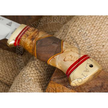 Бивень. Рукоять комбинированная люкс: карельская береза, орех. Латунь. Сталь 95х18