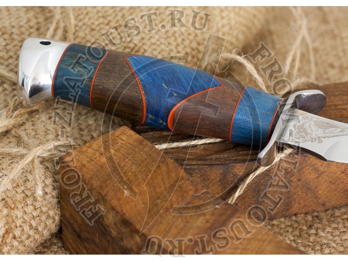 Удар. Рукоять комбинированная люкс: стабилизир. карельская береза, орех, фибра. Алюминий. Сталь 95х18