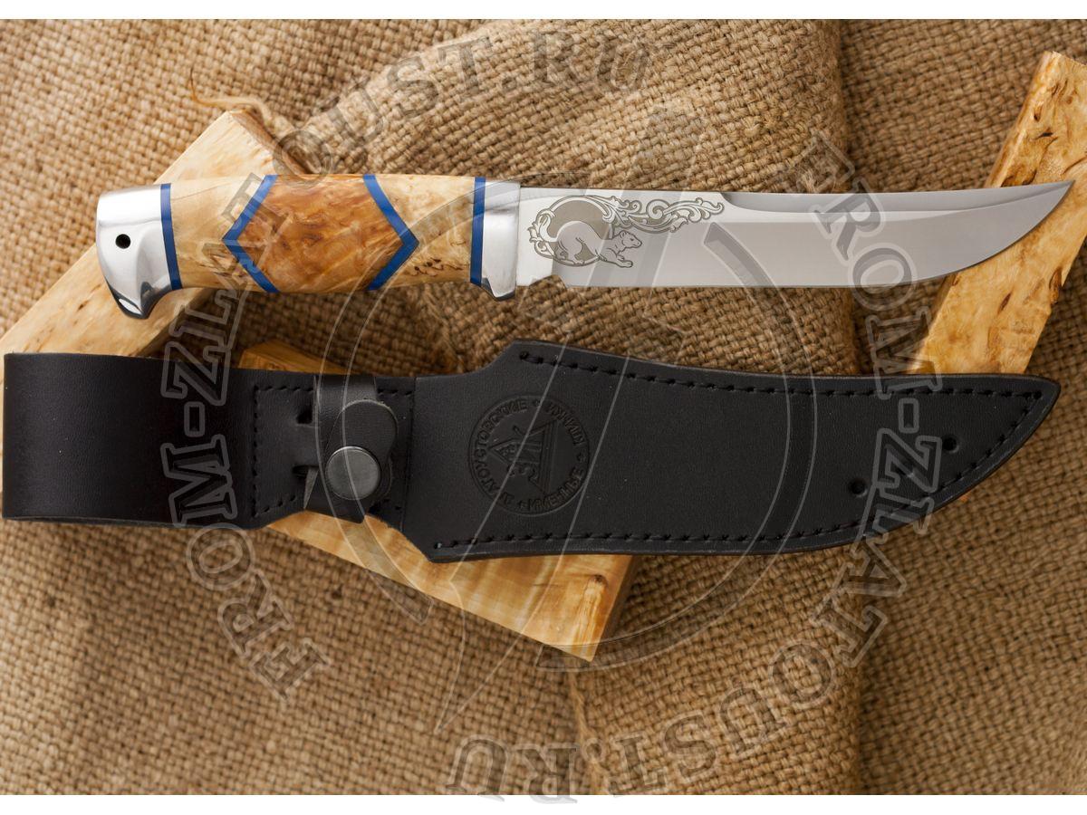 Випер. Рукоять комбинированная люкс: карельская береза, оргстекло. Алюминий. Сталь 95х18