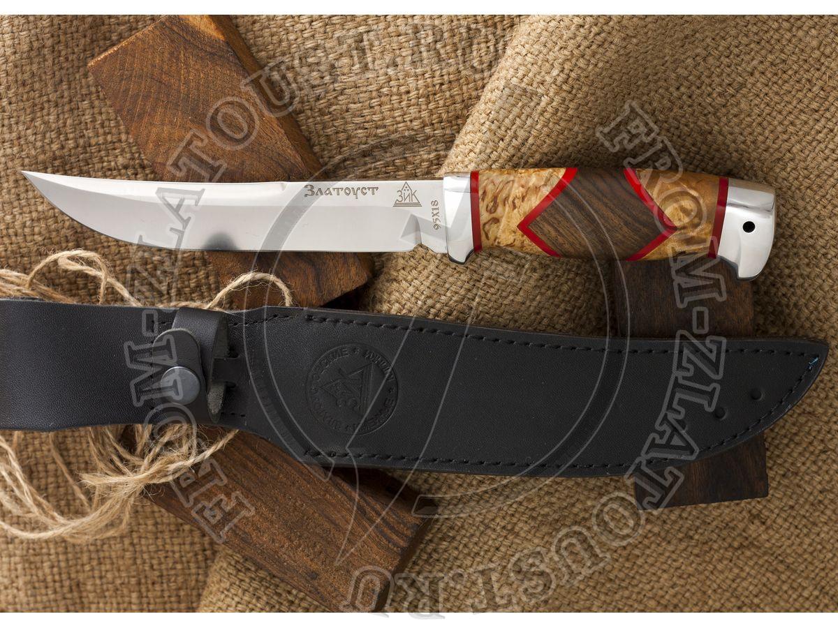 Випер. Рукоять комбинированная люкс: карельская береза, орех, оргстекло. Алюминий. Сталь 95х18