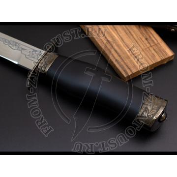 """Полигон. Рукоять и ножны дерево, полимерное покрытие. Латунь в черном никеле. Сталь ЭИ-515. """"ПС. Долг. Честь. Отечество"""". Вариант 2"""