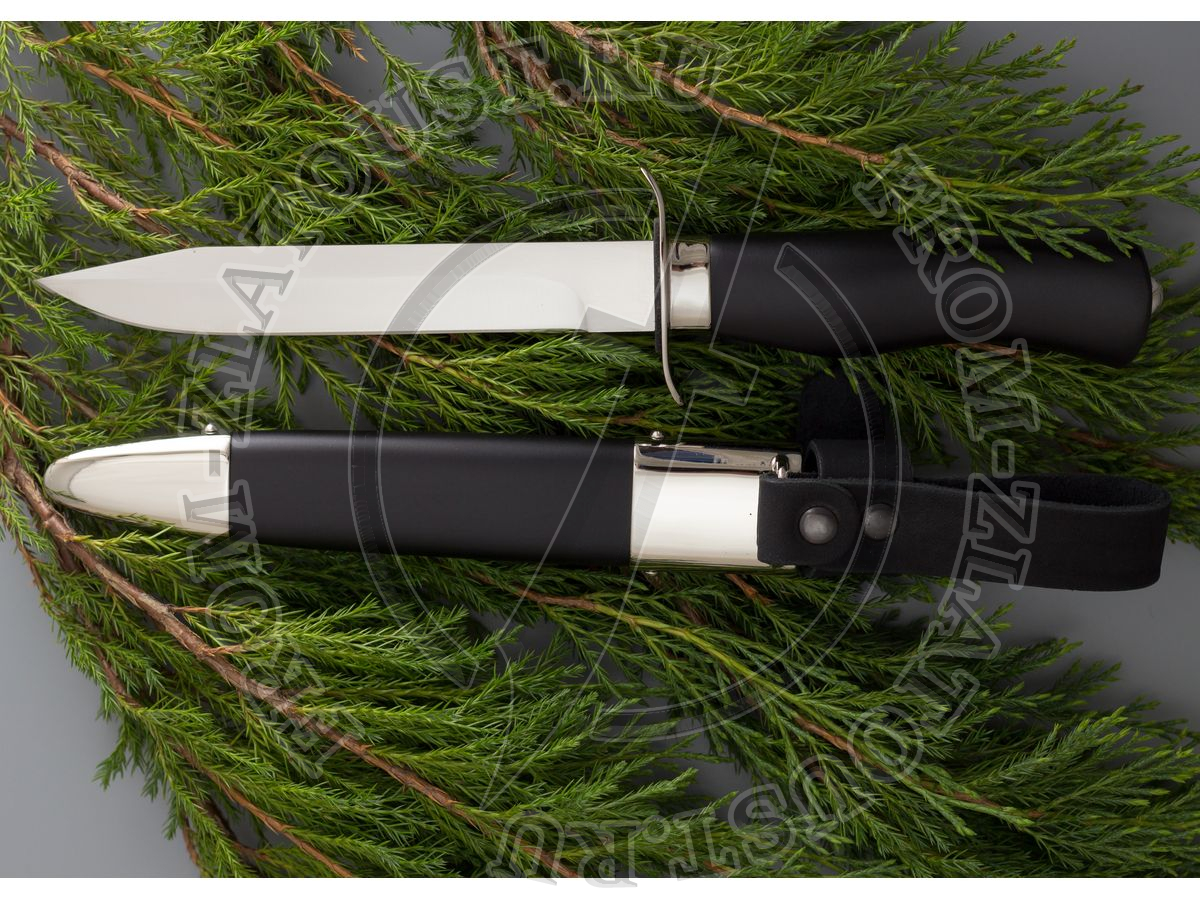 """Офицерский. Рукоять и ножны дерево с полимерным покрытием. Сталь ЭИ-515. """"Пограничные войска КГБ СССР"""""""